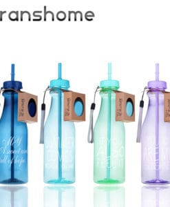 Пластиковая спортивная герметичная бутылка с трубочкой для воды для фитнеса 650 мл