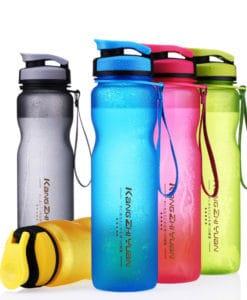 Пластиковая спортивная герметичная матовая бутылка для воды для фитнеса 600/1000 мл