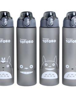 Пластиковая спортивная герметичная матовая серая бутылка Тоторо для воды для фитнеса 500/700 мл