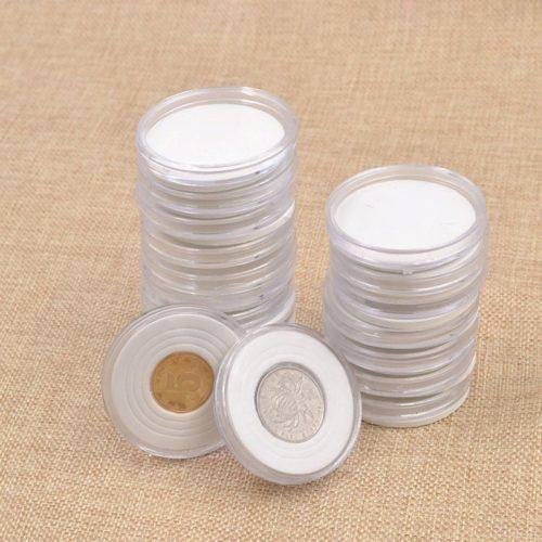 Пластиковые круглые капсулы для хранения монет 46 мм (в наборе 20 шт.)