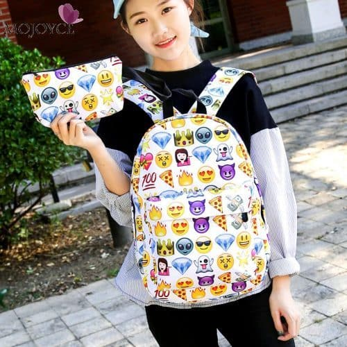 Рюкзак женский школьный молодежный тканевый из нейлона со смайликами Emoji в комплекте с маленькой сумочкой-косметичкой