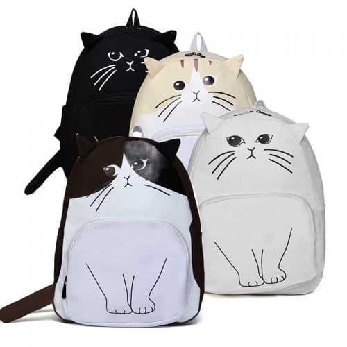 Рюкзак женский тканевый школьный молодежный с изображением кота и ушками