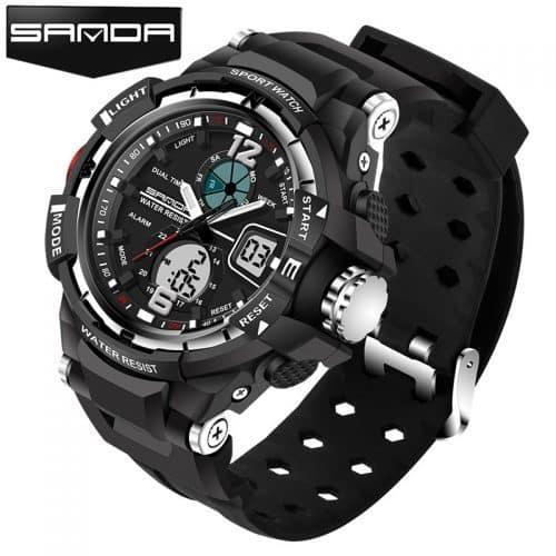 SANDA Мужские наручные цифровые спортивные водонепроницаемые часы с аналоговым дисплеем и подсветкой