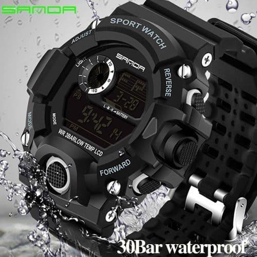 Sanda Мужские наручные цифровые спортивные водонепроницаемые светодиодные часы с аналоговым дисплеем и подсветкой