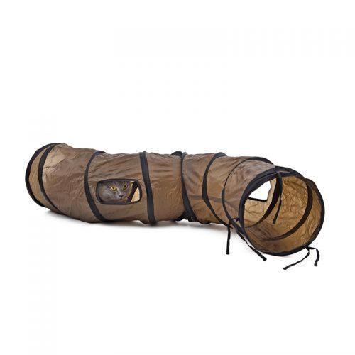 Шуршащий коричневый длинный складной туннель-игрушка для кошек