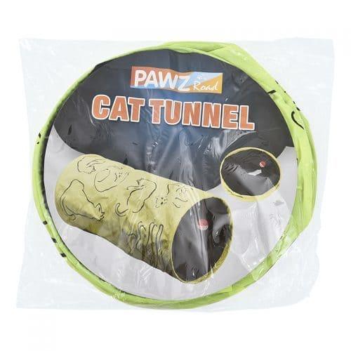 Шуршащий зеленый туннель-игрушка с мячиком для кошек