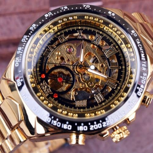 Winner Мужские наручные автоматические механические металлические часы-скелетоны из нержавеющей стали с аналоговым дисплеем