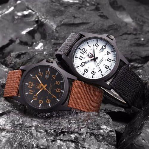 XINEW Мужские наручные повседневные кварцевые часы в стиле милитари с аналоговым дисплеем и тканевым ремешком