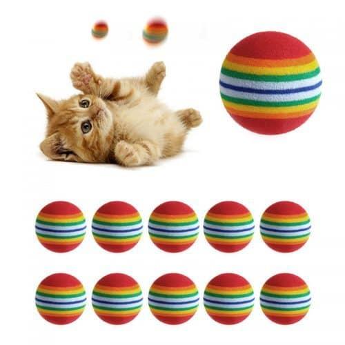 Яркая игрушка-мячик для кошки в наборе 10 шт.