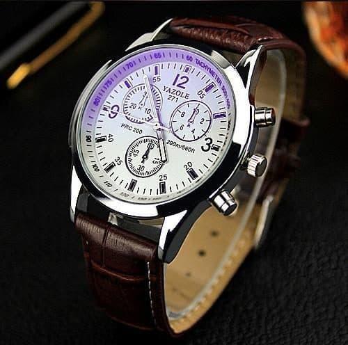 Yazole Мужские наручные кварцевые повседневные черные и коричневые часы с аналоговым дисплеем