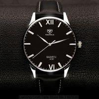 Yazole Мужские наручные кварцевые повседневные черные и коричневые часы с аналоговым дисплеем и римскими цифрами