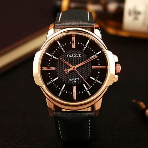 Yazole Мужские наручные кварцевые повседневные черные и коричневые часы с аналоговым дисплеем под розовое золото