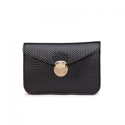 Женская черная маленькая сумка-клатч для телефона на пояс из искусственной кожи