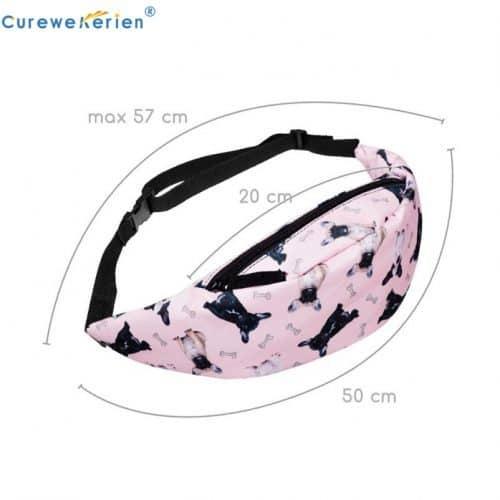 Женская тканевая розовая сумка на пояс с регулируемой длиной