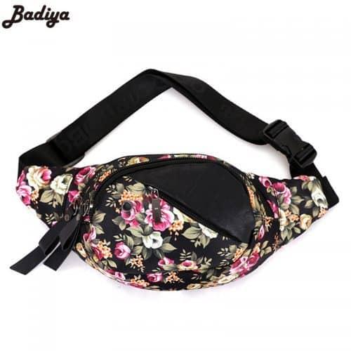 Женская тканевая сумка на пояс с регулируемой длиной, двумя отделениями и цветочным принтом