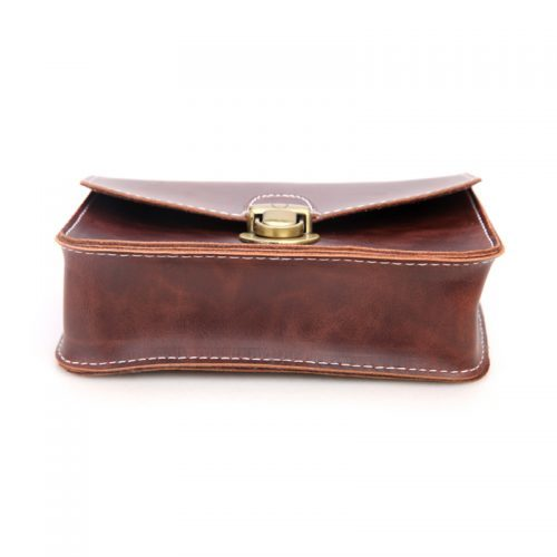 Женская винтажная черная и коричневая маленькая сумка для телефона на пояс из искусственной кожи