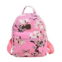 Женский небольшой розовый, черный или белый рюкзак с ручкой на 20 л из искусственной кожи с цветочным принтом