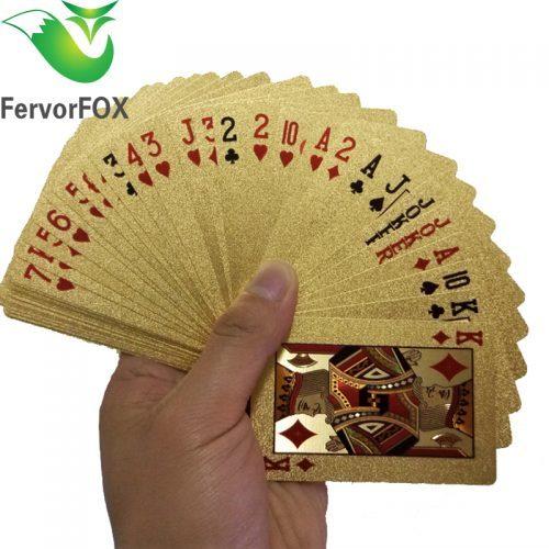 Золотые пластиковые игральные карты водонепроницаемые 54 шт.