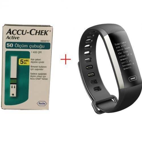Aссu-Chek Active 50 шт. тест полосок для глюкометра + фитнес-браслет