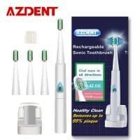 AZDENT 110/220 V электрическая беспроводная водонепроницаемая ультразвуковая зубная щетка с 4 сменными насадками