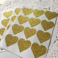Блестящие наклейки с глиттером в виде сердечек (30/60/90/120 шт.)