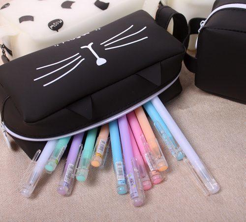 Большой черный и белый пенал-косметичка с ручкой для школьных принадлежностей, канцелярии