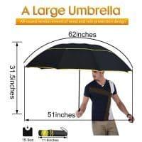 Большой ветрозащитный мужской и женский зонт 130 см