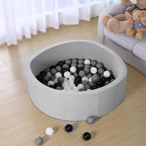 Черные, белые, серые шарики-мячики для сухого детского бассейна 150 шт.