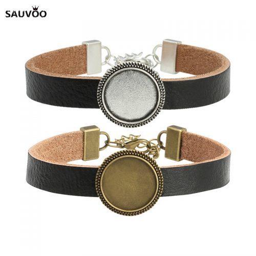 Черный кожаный браслет на руку с кабошоном-основой 18 мм