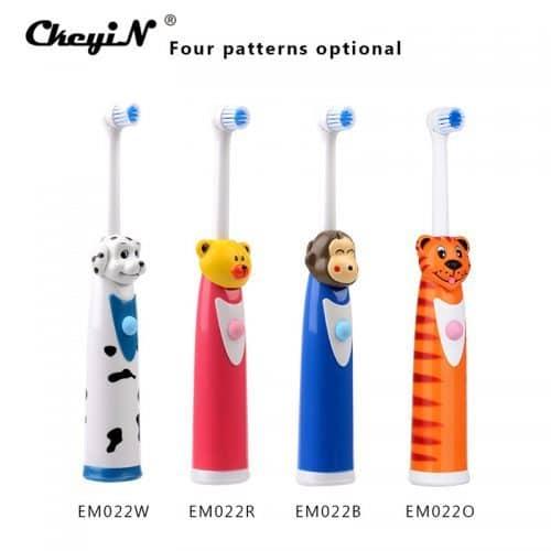 CkeyiN электрическая водонепроницаемая зубная щетка для детей с животными-мультяшками