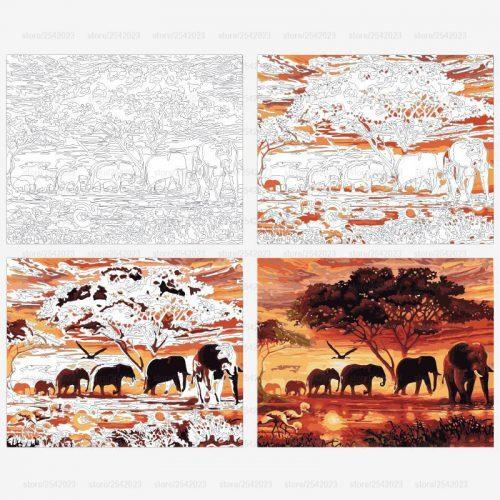 Картина-раскраска по номерам на холсте акриловыми красками Африканские слоны