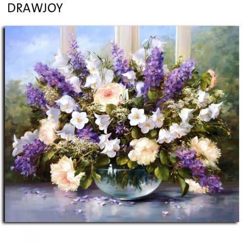 Картина-раскраска по номерам на холсте акриловыми красками Большой букет цветов в вазе