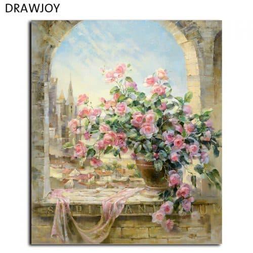 Картина-раскраска по номерам на холсте акриловыми красками Букет роз/Античность