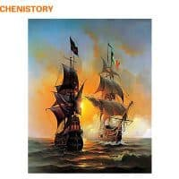 Картина-раскраска по номерам на холсте акриловыми красками Два парусника