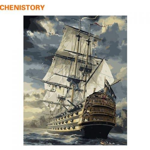 Картина-раскраска по номерам на холсте акриловыми красками Корабль в море