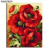 Картина-раскраска по номерам на холсте акриловыми красками Красные цветы/Маки