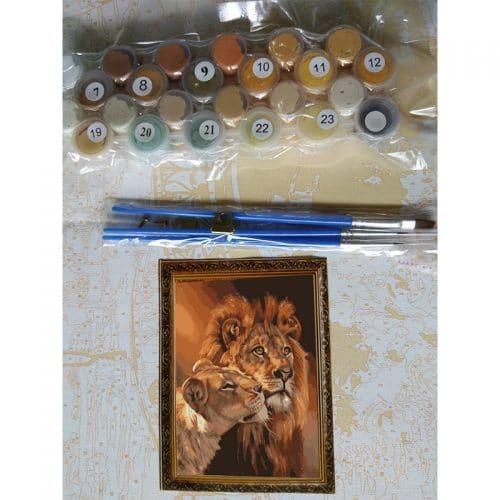 Картина-раскраска по номерам на холсте акриловыми красками Львы