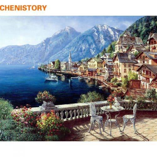 Картина-раскраска по номерам на холсте акриловыми красками Морской пейзаж/Бухта