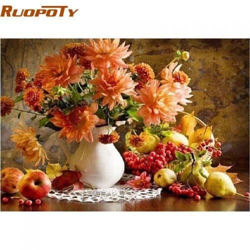 Картина-раскраска по номерам на холсте акриловыми красками Натюрморт/Цветы, фрукты