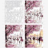 Картина-раскраска по номерам на холсте акриловыми красками Пейзаж/Набережная