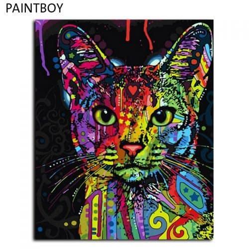 Картина-раскраска по номерам на холсте акриловыми красками Радужный кот