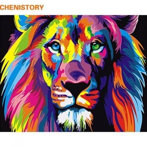 Картина-раскраска по номерам на холсте акриловыми красками Радужный лев
