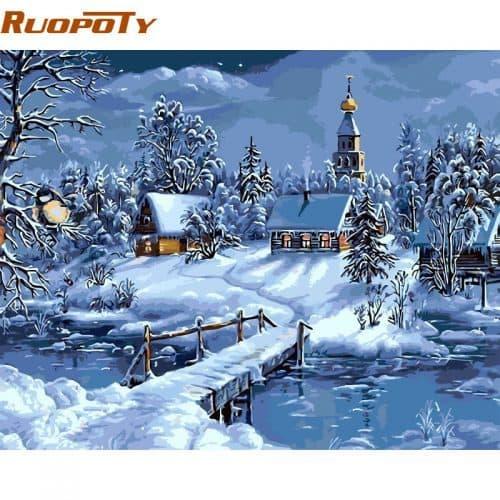 Картина-раскраска по номерам на холсте акриловыми красками Зимний пейзаж