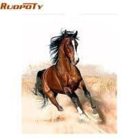 Картина-раскраска по номерам на холсте Лошадь