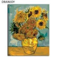 Картина-раскраска по номерам на холсте Подсолнухи Ван Гога
