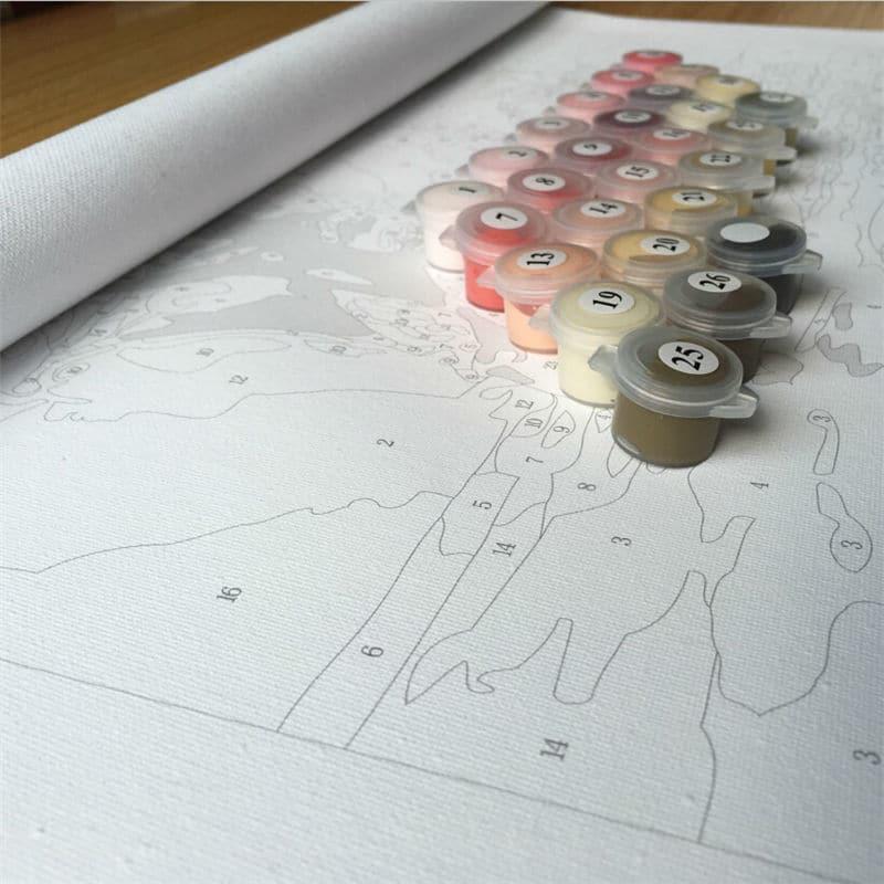 Купить Картина-раскраска по номерам на холсте Подсолнухи ...