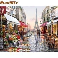 Картина-раскраска по номерам на холсте Улица в Париже/Пейзаж