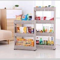 Кухонная стойка-стеллаж с полками на колесиках для хранения