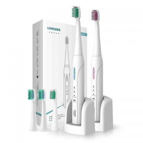 Lansung Sonic SN901 электрическая ультразвуковая зубная щетка с 4 сменными насадками