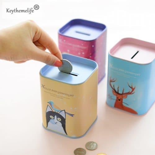 Металлическая маленькая копилка-банка для денег с изображением животных